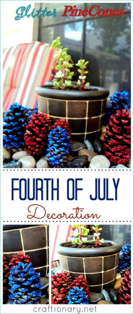glitter pine cones fourth of july