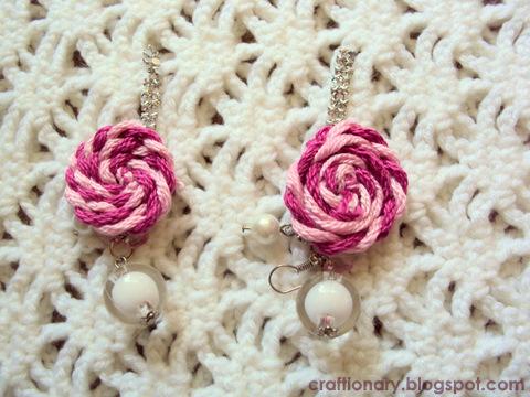 yarn rosettes earrings