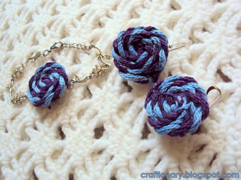 yarn rosettes jewelry