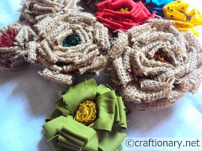 burlap handmade flowers