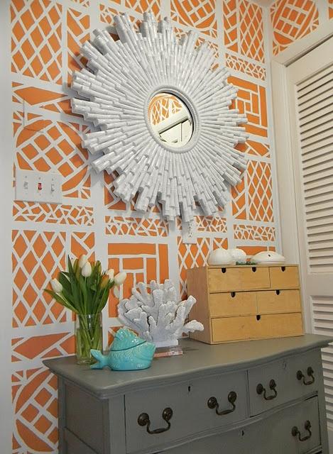 orange stenciled wall