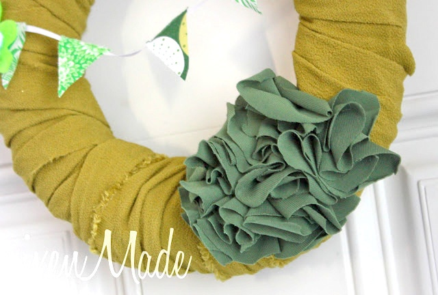 green fabric wreath