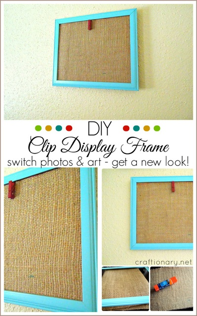 DIY clothespin display frame