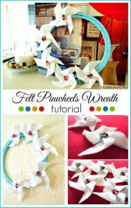 DIY felt pinwheels wreath tutorial
