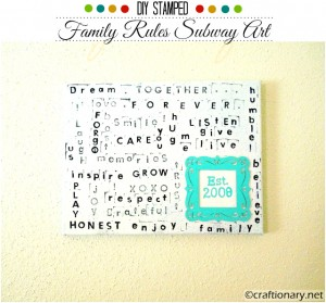 Family Rules Subway Art Canvas (Tutorial)
