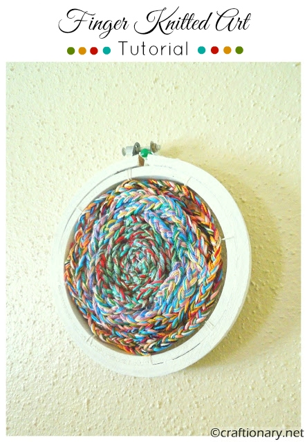 embroidery hoop art finger knitted