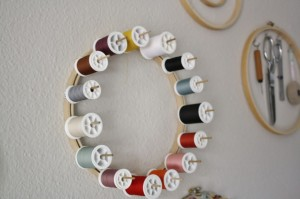 Sewing embroidery hoop organization