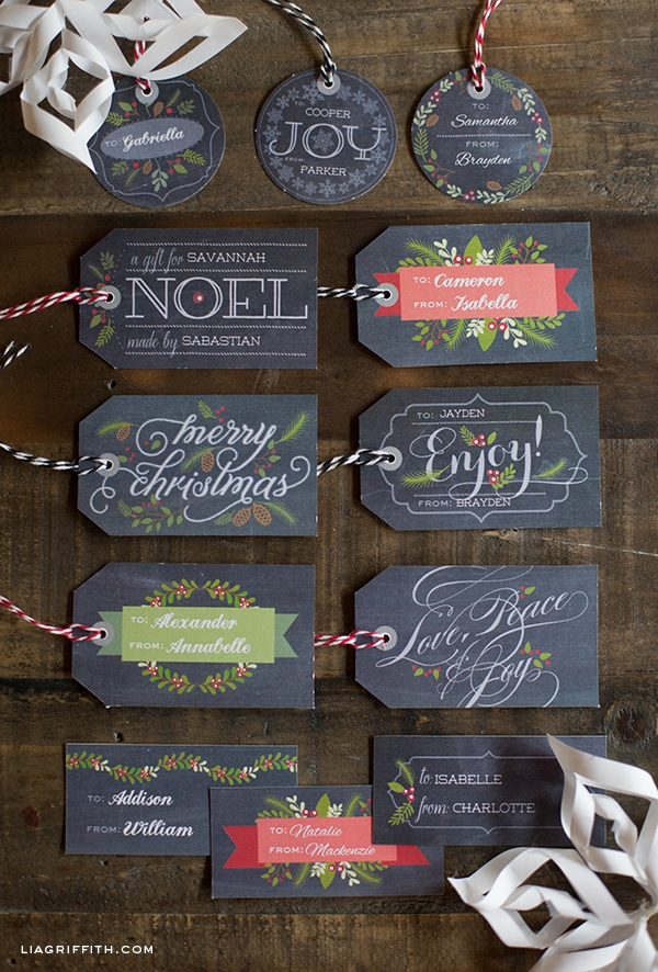 Printable chalkboard gift tags and labels for Christmas