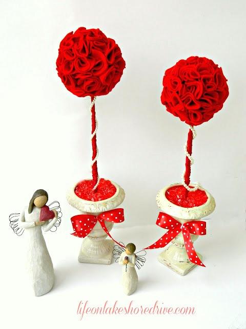 felt roses topiary