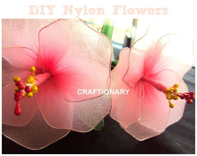 Making nylon butterflies and flowers &amp
