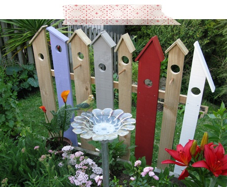 Make a cute birdhouse fence. Birds can have some fun playing around it ...