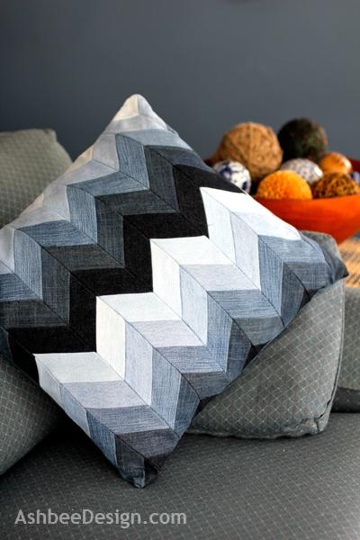 chevron denim pillow