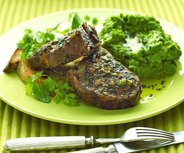 green lamb chops