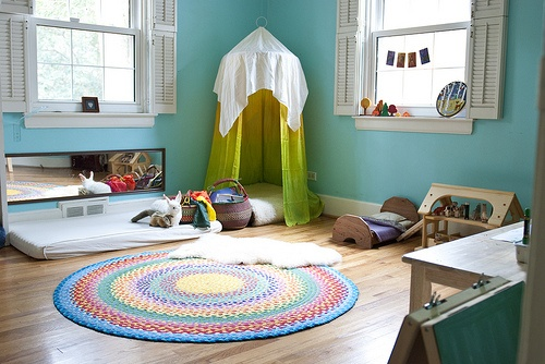 Make reading canopy for kids room. Hang fabric on a quilting hoop. And using fish wire hang the canopy with a hook in the ceiling. & Craftionary