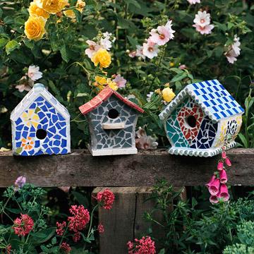 mosaic birdhouses