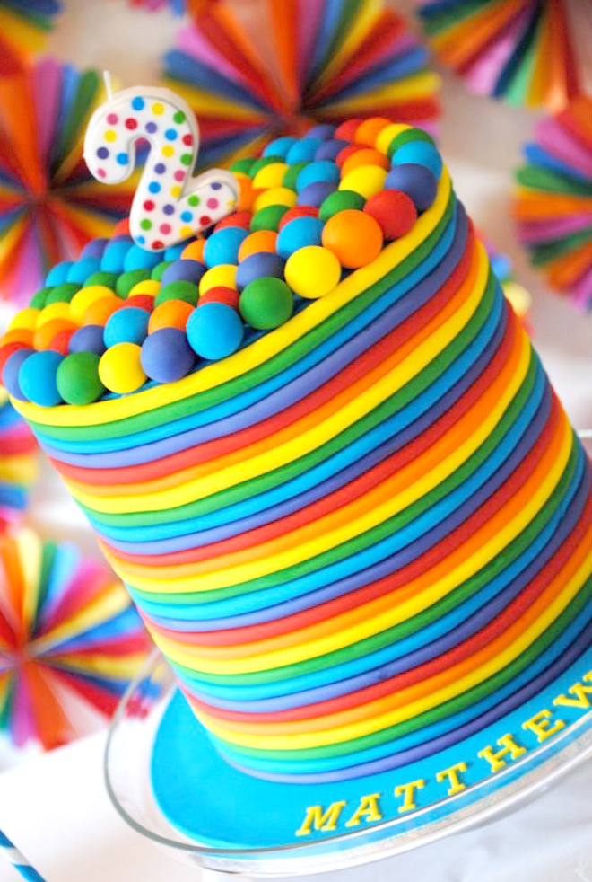 Rainbow Candy Themed Cakes Colorful rainbow cake made for