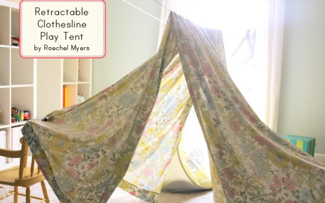 Make a clothesline play tent. Easiest DIY tent ever! & Craftionary