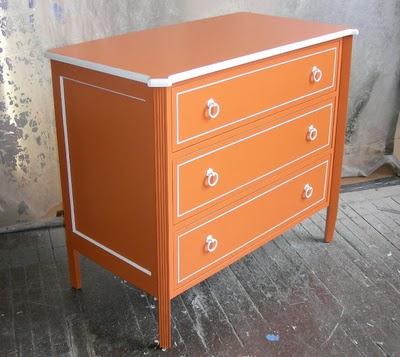 orange painted furniture