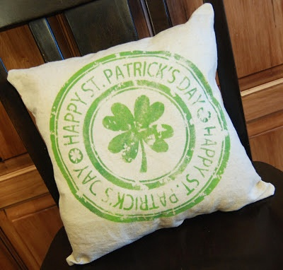 shamrock stamp pillow