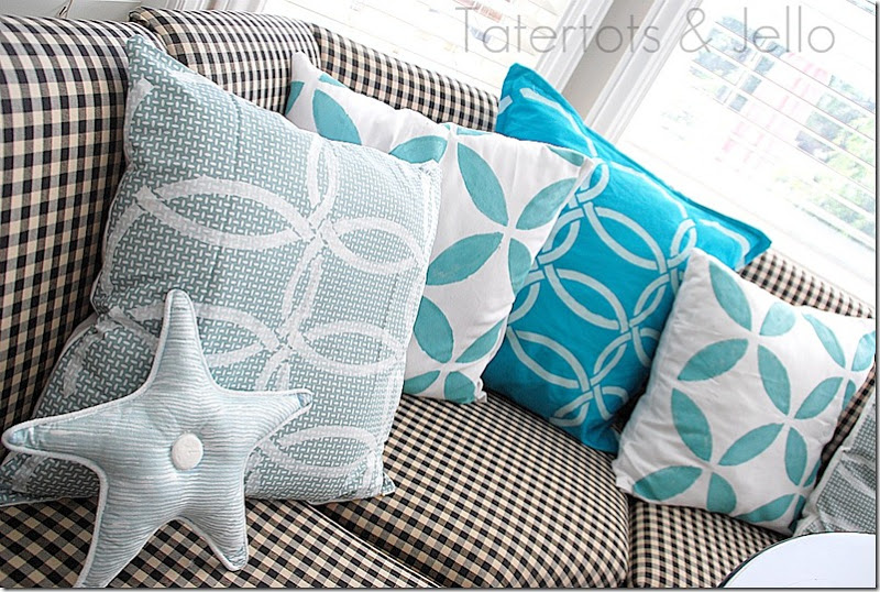 stenciled decorative pillows