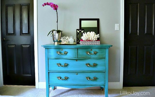 colorful blue dresser