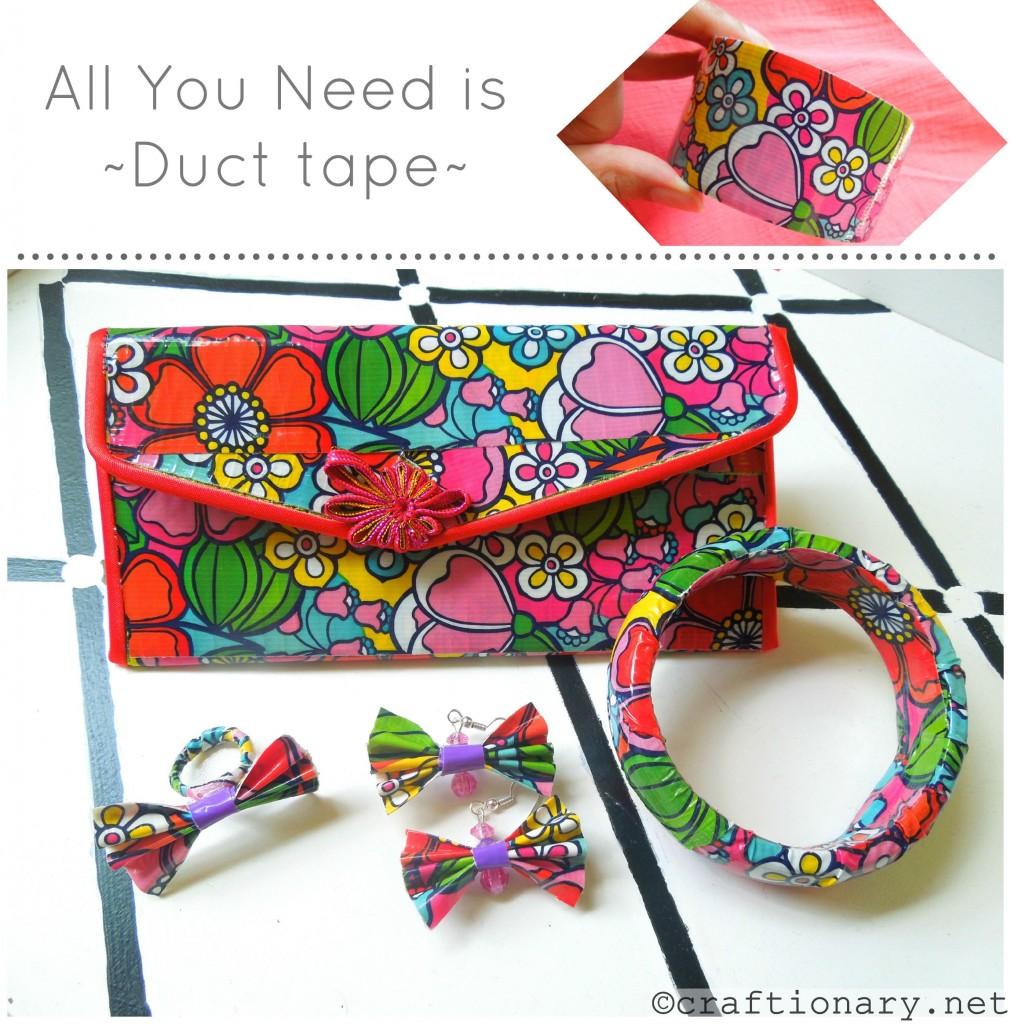 Duct tape crafts diy girly accessories craftionary for Duck tape craft ideas