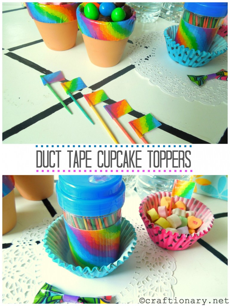 duct tape party cupcake toppers