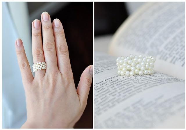 handmade gift pearl ring