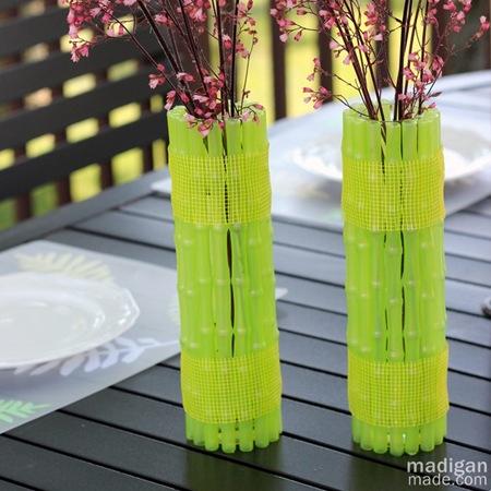 neon bamboo vases