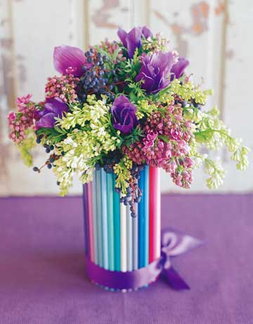 pencils colorful vases