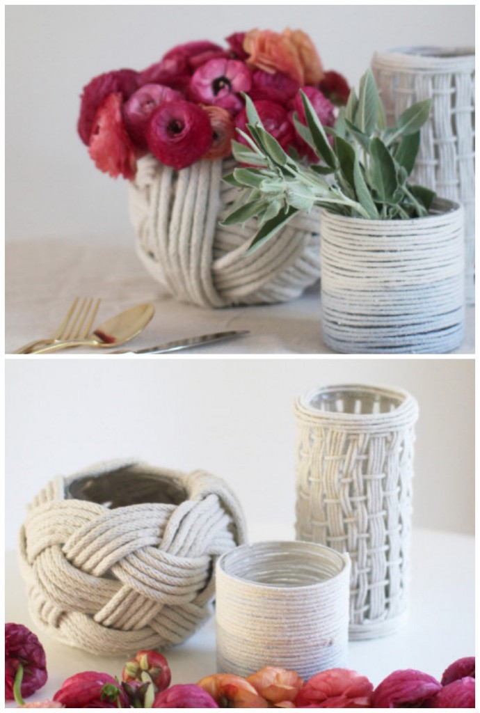 rope DIY vases