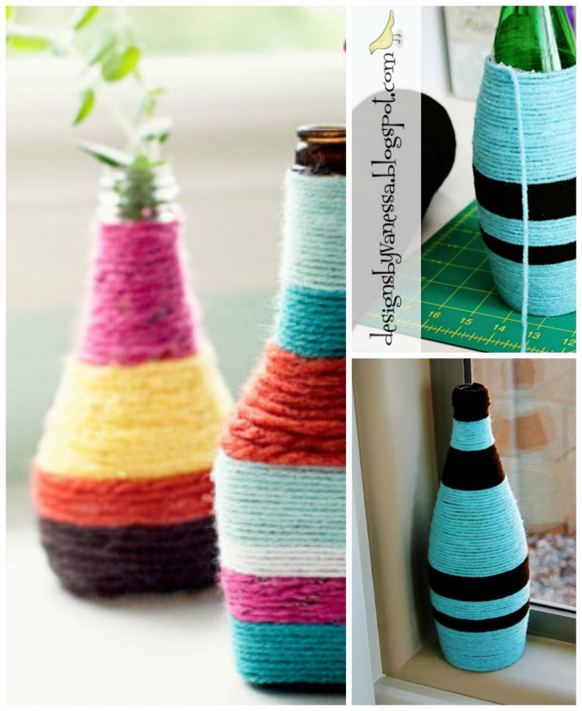 DIY yarn vases