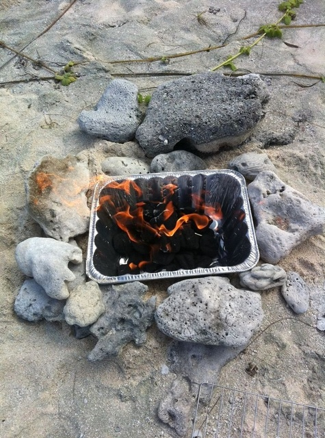 disposable bbq grill on beach