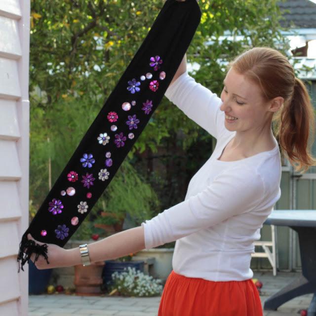DIY embellished gemstones scarf