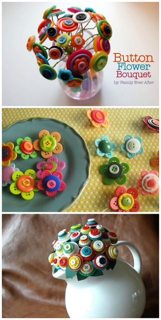 button DIY flowers bouquet