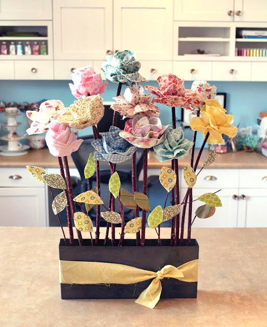 DIY fabric flowers pot mom