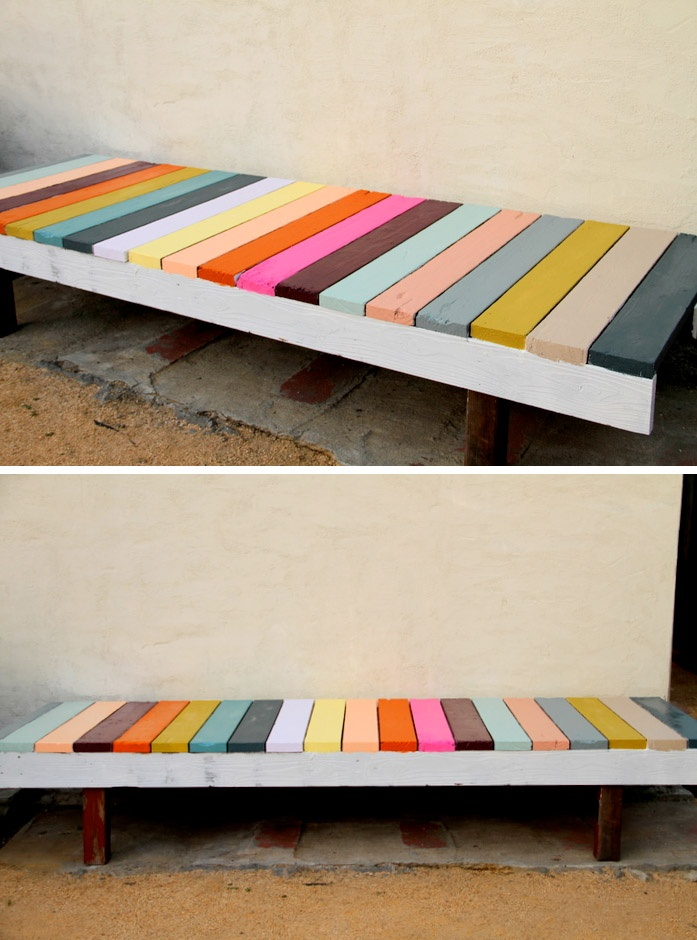 Bench Painting Ideas Part - 35: DIY Painted Garden Bench