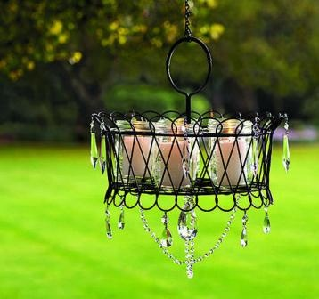 DIY garden chandelier lights