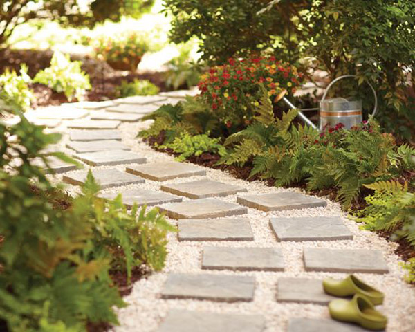 DIY stone and tile pathway