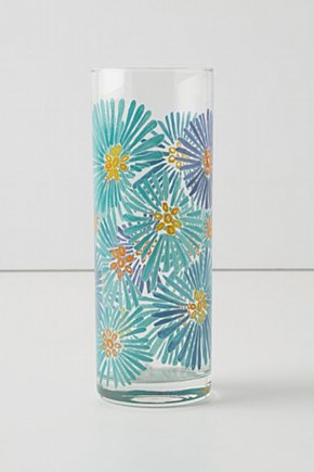 FLOWERS GLASS PAINT VASE