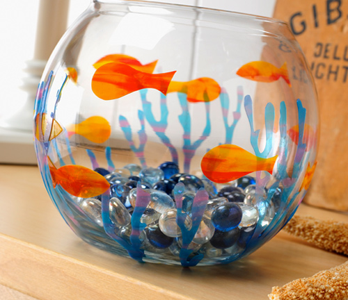 DIY GLASS PAINT FISH BOWL