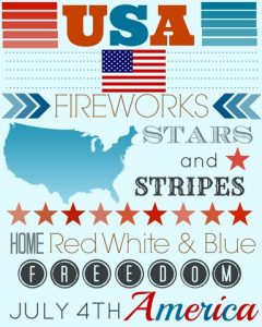 4th of July Free Printable (USA Subway Art)