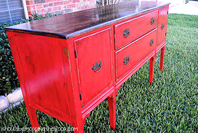DIY red buffet table
