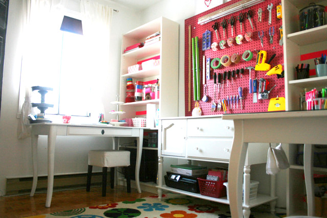 pink crafts room