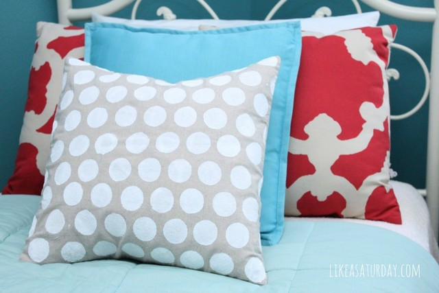 polka dotted pillow