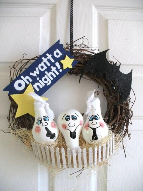 bulb ghost wreath tutorial