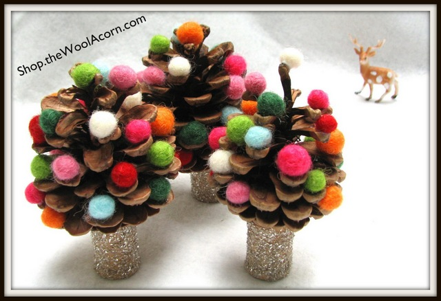 colorful pine cones