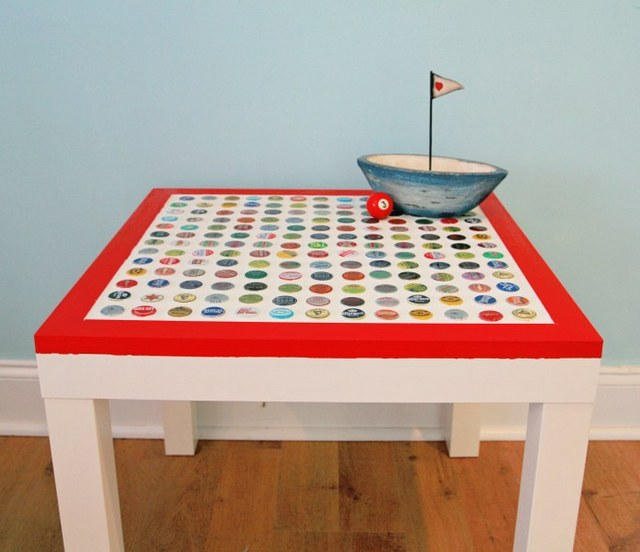 diy bottle cap ikea table