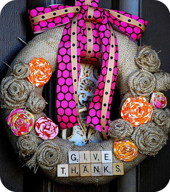 burlap give thanks wreath