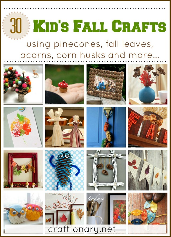 kids Fall crafts diy tutorials pine cones, leaves, acorns, corn husks
